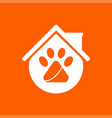 pet house logo template design and support icon vector image