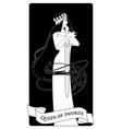 queen swords with spades crown holding a sword vector image vector image