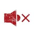 Red grunge no sound logo vector image
