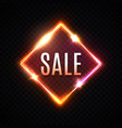 sale banner bright neon light square background vector image vector image