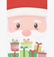santa face and gifts merry christmas card vector image