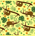 seamless pattern with sloths in jungle vector image