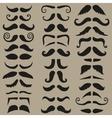 set hipster mustache black silhouette vector image