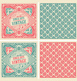 set of 2 vintage cards with floral wallpaper vector image