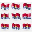 Set of Kiribati flags in the air vector image vector image