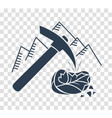 silhouette icon mountain pickaxe vector image vector image