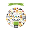 Soccer Icons set in circle vector image vector image