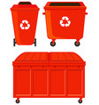 Three red rubbish bins vector image vector image