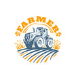 tractor logo emblem design vector image vector image
