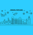 united states portland oregon winter holidays vector image vector image