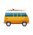 Vintage yellow travel minibus Camper cartoon van