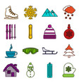 winter icons doodle set vector image vector image
