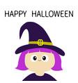 witch girl wearing curl hat happy halloween vector image vector image