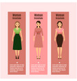 woman dresscode flyers set vector image vector image
