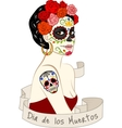 woman with dia los muertos make-up vector image vector image