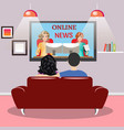 young family man and women watching tv vector image vector image