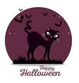 cute black cat happy halloween vector image