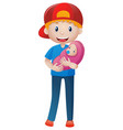 father holding newborn baby vector image