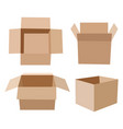 set of isometric cardboard boxes isolated on white vector image