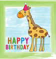 childish birthday card with giraffe vector image
