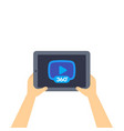 360 degrees video player icon on tablet screen