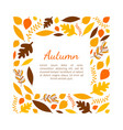 autumn leaves square frame template with space for vector image