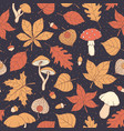 autumn pattern with oak maple leaves mushrooms vector image vector image