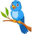 cartoon blue bird sitting on tree branch vector image vector image