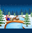 cartoon boy riding sled on the bridge in the snowi vector image vector image