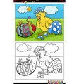 cartoon easter chick hatched from egg coloring vector image