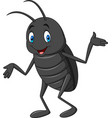 cartoon happy black beetle vector image vector image