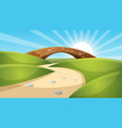 cartoon landscape sun cloud vector image vector image