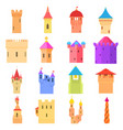 castle tower icons set color cartoon style vector image vector image