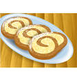 cheese rolls on a table vector image vector image