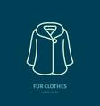 coat icon fur clothing shop line logo flat sign vector image