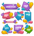 Collection of bright labels bubbles tags