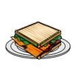 color crayon stripe cartoon bread sandwich in vector image vector image