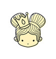 color girl head with crown and two buns hair vector image vector image