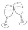 continuous line drawing glasses wine vector image