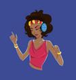 cute cartoon woman dancing with headphones vector image vector image