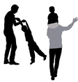 dad playing with his son silhouette vector image