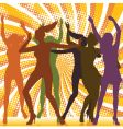 dancing girls with ray backgro vector image