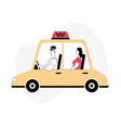 driver and passenger in car front and side view vector image