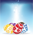Easter eggs on shining background vector image vector image