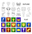 film awards and prizes flat icons in set vector image vector image