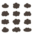 Flat design monochrome cloud icons vector image