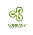 green leaf circle logo vector image vector image