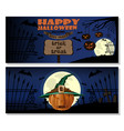 halloween greeting card with jack o lantern vector image