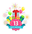 happy birthday card thirteen years vector image vector image