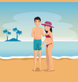 happy couple of lovers on the beach vector image vector image